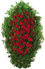 Фото - Венок на похороны из живых цветов #13 красные гвоздики и аспарагус
