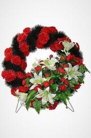 Фото - Похоронный венок Колесо №2 красые гвоздики, лилии