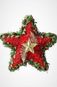 Фото - Ритуальный венок 110 см красная звезда