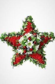 Фото - Ритуальный венок 110 см красно-белая звезда