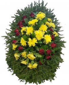Фото - Ритуальный венок из живых цветов #20 из желтых хризантем и роз