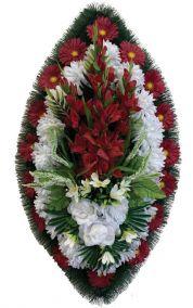 Фото - Ритуальный венок из искусственных цветов - Классика #01 красно-белый