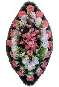 Фото - Ритуальный венок из искусственных цветов - Классика #02 розово-белый