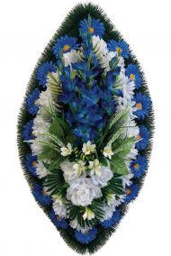 Фото - Ритуальный венок из искусственных цветов - Классика #03 сине-белый