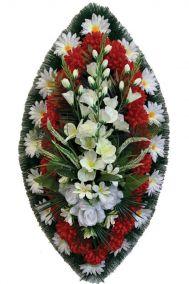 Фото - Ритуальный венок из искусственных цветов - Классика #04 бело-красный