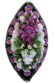 Фото - Ритуальный венок из искусственных цветов - Классика #05 фиолетово-белый