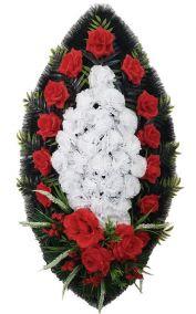 Фото - Ритуальный венок из искусственных цветов - Классика #06 красно-белый с розами