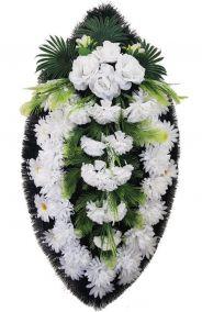 Фото - Ритуальный венок из искусственных цветов - Классика #07 белый с хризантемами и розами