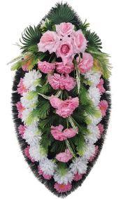 Фото - Ритуальный венок из искусственных цветов - Классика #08 розово-белый из хризантем и зелени