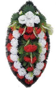 Фото - Ритуальный венок из искусственных цветов - Классика #09 красно-белый из роз, хризантем и зелени
