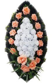 Фото - Ритуальный венок из искусственных цветов - Классика #10 оранжево-розовый из роз и гвоздик