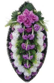 Фото - Ритуальный венок из искусственных цветов - Классика #11 фиолетово-белый из роз и хризантем