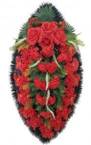 Фото - Ритуальный венок из искусственных цветов - Классика #12 красные розы, хризантемы и гвоздики