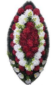 Фото - Ритуальный венок из искусственных цветов - Классика #13 красно-белый из гвоздик и лилий