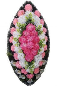 Фото - Ритуальный венок из искусственных цветов - Классика #15 розово-белый из гвоздик и лилий