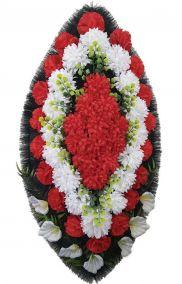 Фото - Ритуальный венок из искусственных цветов - Классика #16 красно-белый из гвоздик и лилий