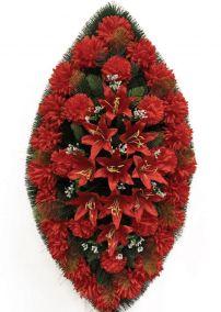 Фото - Ритуальный венок из искусственных цветов - Классика #18 из красных хризантем, лилий и зелени