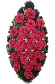 Фото - Ритуальный венок из искусственных цветов - Классика #19 алый из роз и зелени