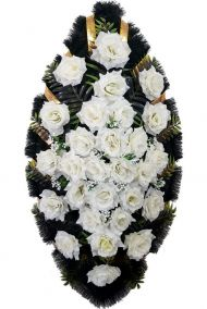 Фото - Ритуальный венок из искусственных цветов - Классика #21 из белых роз и зелени
