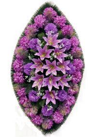 Фото - Ритуальный венок из искусственных цветов - Классика #22 фиолетовый из хризантем, лилий и зелени
