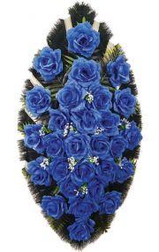 Фото - Ритуальный венок из искусственных цветов - Классика #24 из синих роз и зелени