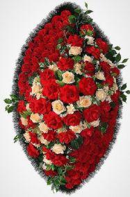 Фото - Ритуальный венок из искусственных цветов - Элитный #10 красный из роз, гвоздик и зелени