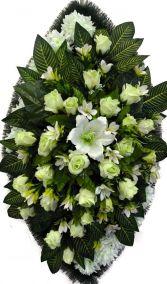 Фото - Ритуальный венок из искусственных цветов - Элитный #11 белый из роз, лилий, хризантем и зелени
