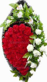 Фото - Ритуальный венок из искусственных цветов - Элитный #12 красно-белый