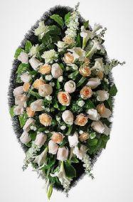 Фото - Ритуальный венок из искусственных цветов - Элитный #13 из роз и зелени
