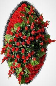 Фото - Ритуальный венок из искусственных цветов - Элитный #15 красный из роз, гвоздик и зелени