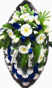 Фото - Ритуальный венок из искусственных цветов - Элитный #17 сине-белый из роз и гвоздик