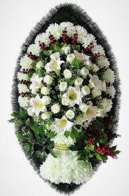 Фото - Ритуальный венок из искусственных цветов - Элитный #18 из белых роз, хризантем и зелени