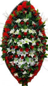 Фото - Ритуальный венок из искусственных цветов - Элитный #19 красно-белый из лилий, роз и гвоздик