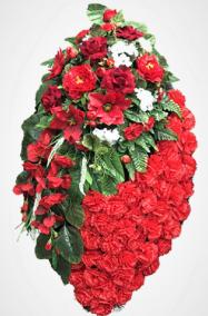 Фото - Ритуальный венок из искусственных цветов - Элитный #20 красный