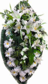 Фото - Ритуальный венок из искусственных цветов - Элитный #22 из белых лилий, хризантем и зелени