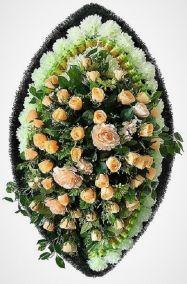 Фото - Ритуальный венок из искусственных цветов - Элитный #24 из роз, гвоздик и зелени