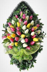 Фото - Ритуальный венок из искусственных цветов - Элитный #26 из тюльпанов и зелени