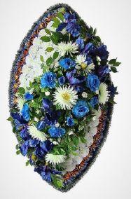 Фото - Ритуальный венок из искусственных цветов - Элитный #27 сине-белый из роз и хризантем