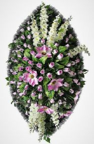 Фото - Ритуальный венок из искусственных цветов - Элитный #29 фиолетово-белый из роз и зелени