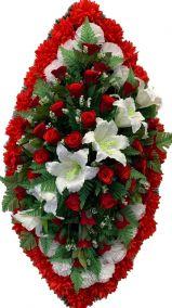 Фото - Ритуальный венок из искусственных цветов - Элитный #31 красно-белый из лилий, роз, гвоздик и зелени