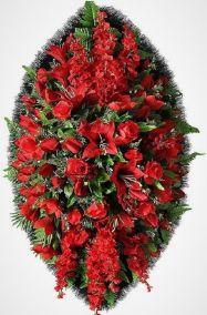 Фото - Ритуальный венок из искусственных цветов - Элитный #32 красный из роз, лилий и зелени
