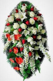 Фото - Ритуальный венок из искусственных цветов - Элитный #34 из роз, лилий и зелени