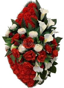 Фото - Ритуальный венок из искусственных цветов - Элитный #35 красно-белый из роз, пионов и зелени