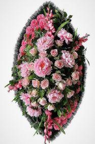 Фото - Ритуальный венок из искусственных цветов - Элитный #36 розовый из хризантем и роз