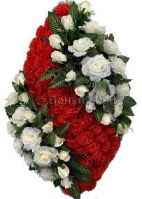 Фото - Ритуальный венок из искусственных цветов - Элитный #37 красно-белый из роз и гвоздик