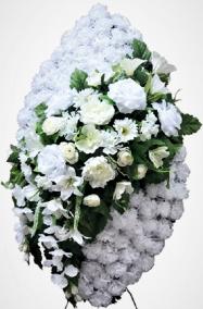 Фото - Ритуальный венок из искусственных цветов - Элитный #39 белый из роз, лилий и зелени