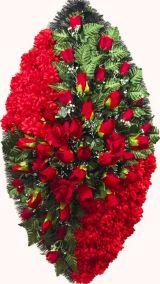 Фото - Ритуальный венок из искусственных цветов - Элитный #40 красный из роз, гвоздик и зелени
