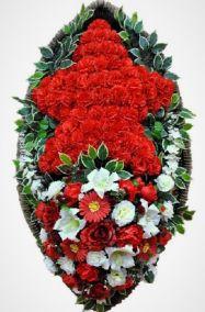 Фото - Ритуальный венок из искусственных цветов - Элитный #41 красная звезда
