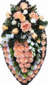 Фото - Ритуальный венок из искусственных цветов - Элитный #42 розовый из роз и гвоздик