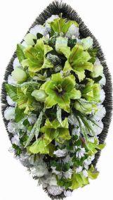 Фото - Ритуальный венок из искусственных цветов - Элитный #43 из светло-зеленых лилий и гвоздик